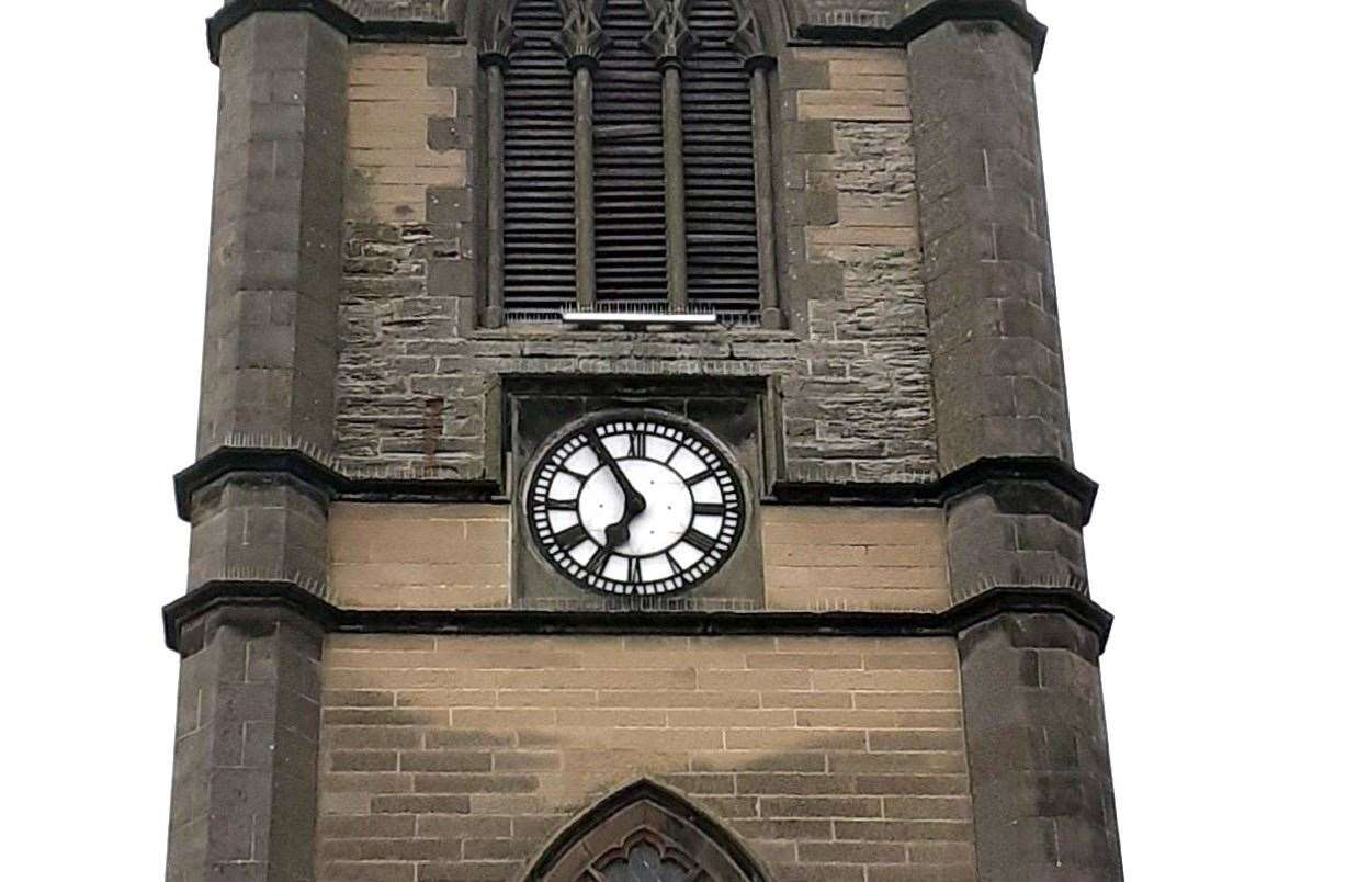 The clock at St Peter's and St Andrew's Church in Thurso stopped after being hit by lightning on the evening of August 5 this year.Picture: Alexander Glasgow