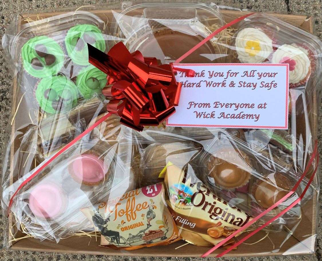 One of the hampers gifted by Wick Academy under-17s.