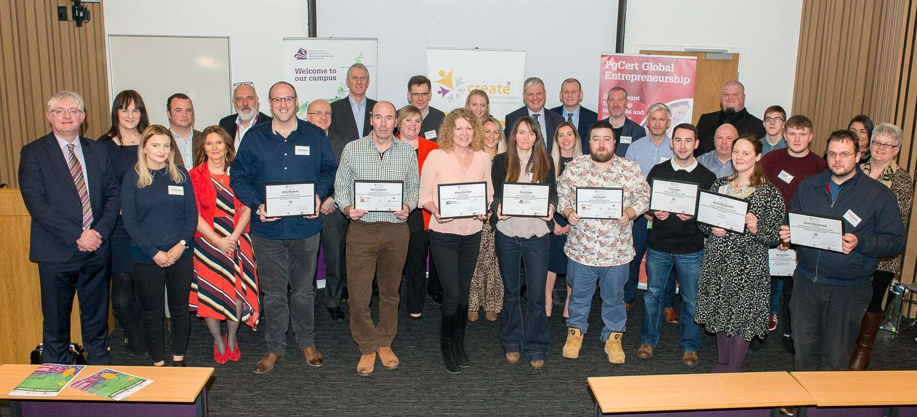All the finalists, judges and sponsors in the University of the Highlands and Islands Business Competition. Picture: Angus Findlay