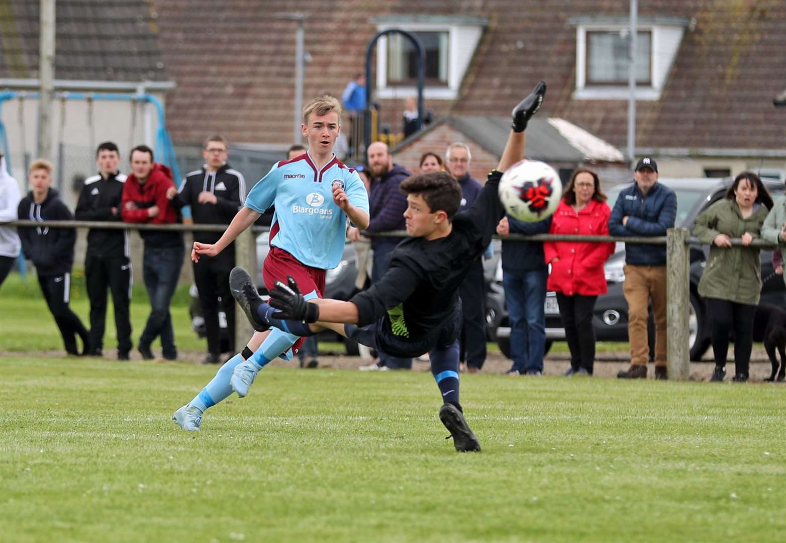 Pentland United's Cameron Montgomery beats High Ormlie Hotspur keeper Lewis Gallagher to score their second equaliser. Pentland United won 3-2. Picture: James Gunn