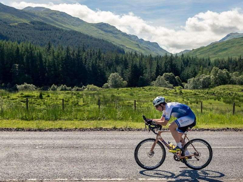Record-breaking athlete Mark Beaumont cycling the North Coast 500.