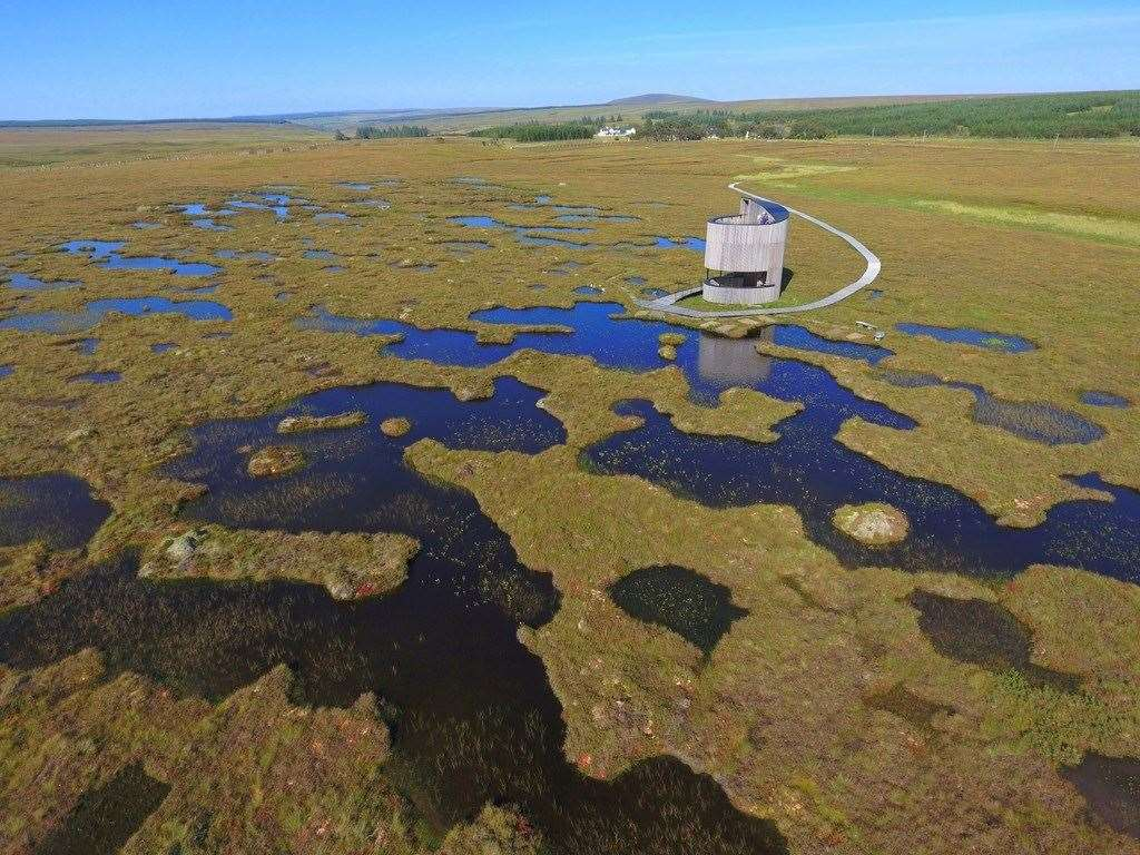 The RSPB Scotland lookout tower at Forsinard Flows. Picture: RSPB Images