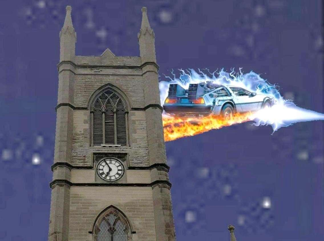A jocular graphic by Alexander Glasgow based on comedy scifi classic Back to the Future in which the town clock sticks after being hit by lightning.Picture: Alexander Glasgow