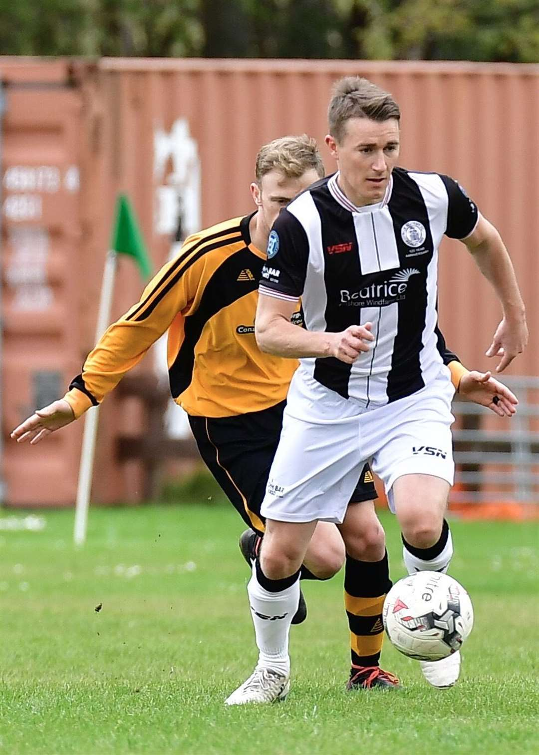 Gary Manson brings the ball out of defence for Wick Academy in Saturday's Highland League match at Fort William. Picture: Mel Roger