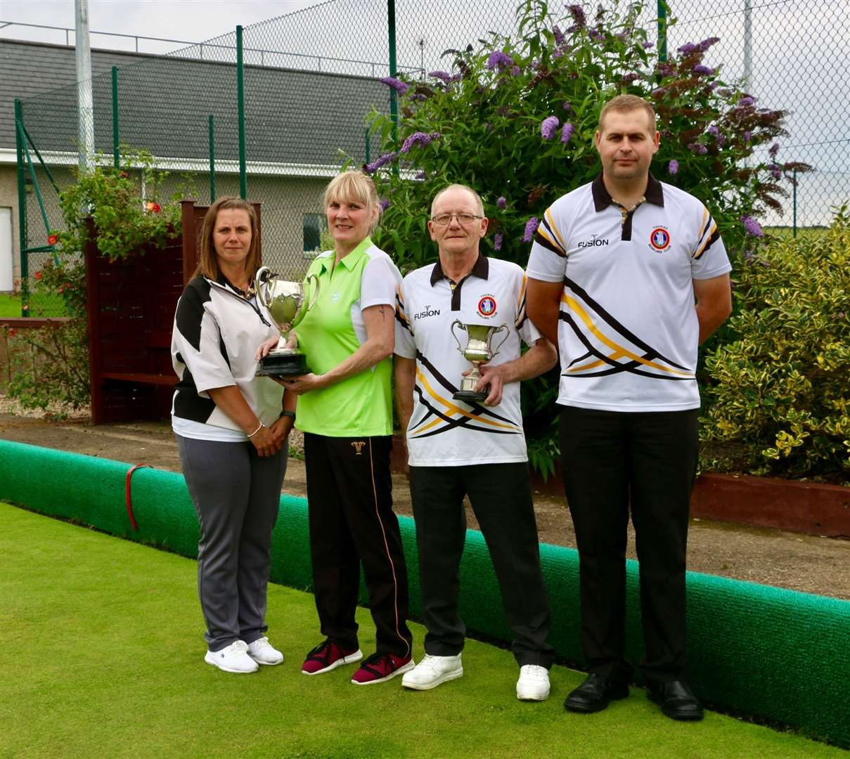 Marina Bain, Lorna Cormack, Ronnie Bain snr and John McGill after the ladies' and gents' championships.