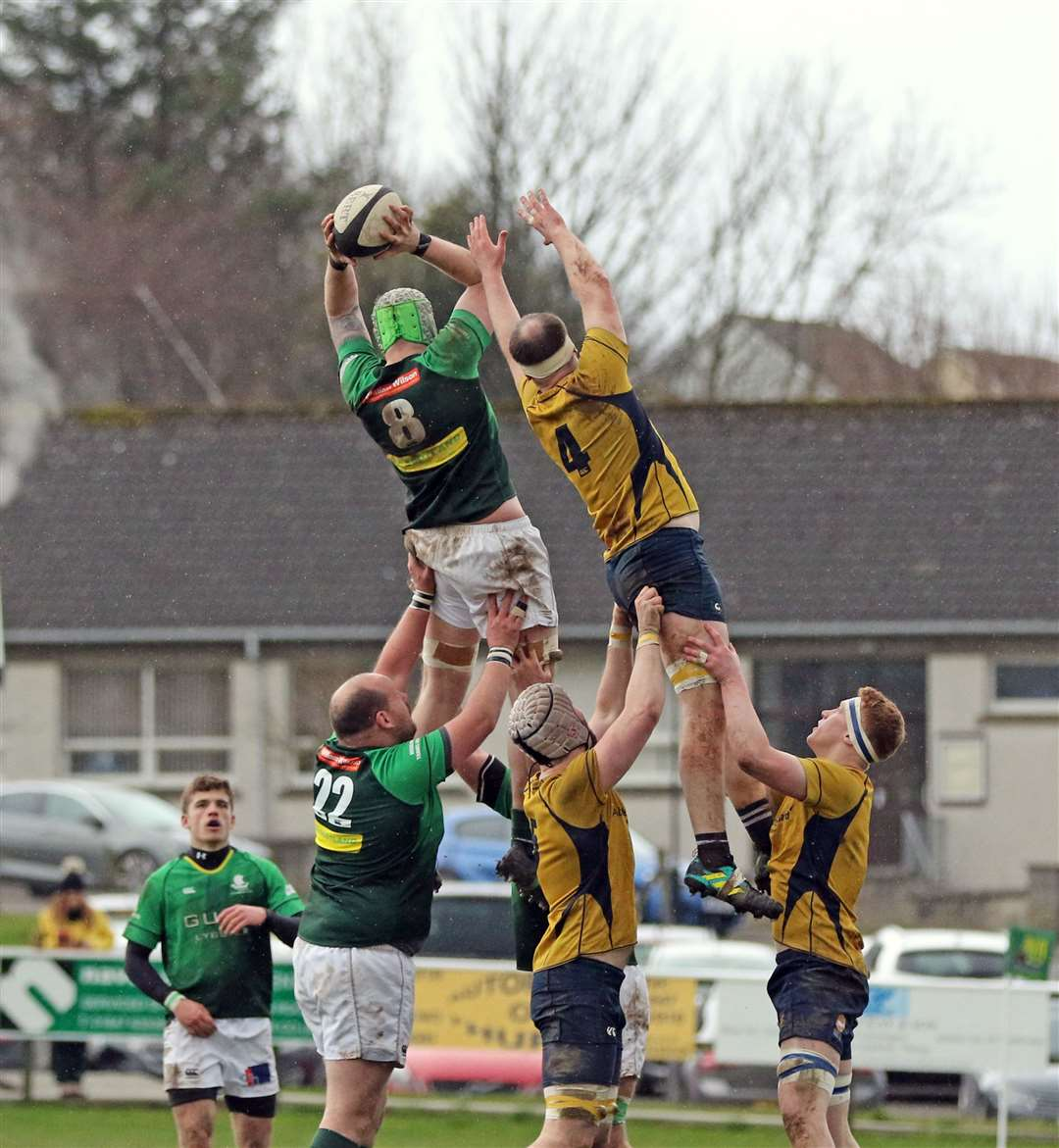 Grant Anderson wins a line-out for the Greens in the recent clash with Gordonians at Millbank. Picture: James Gunn
