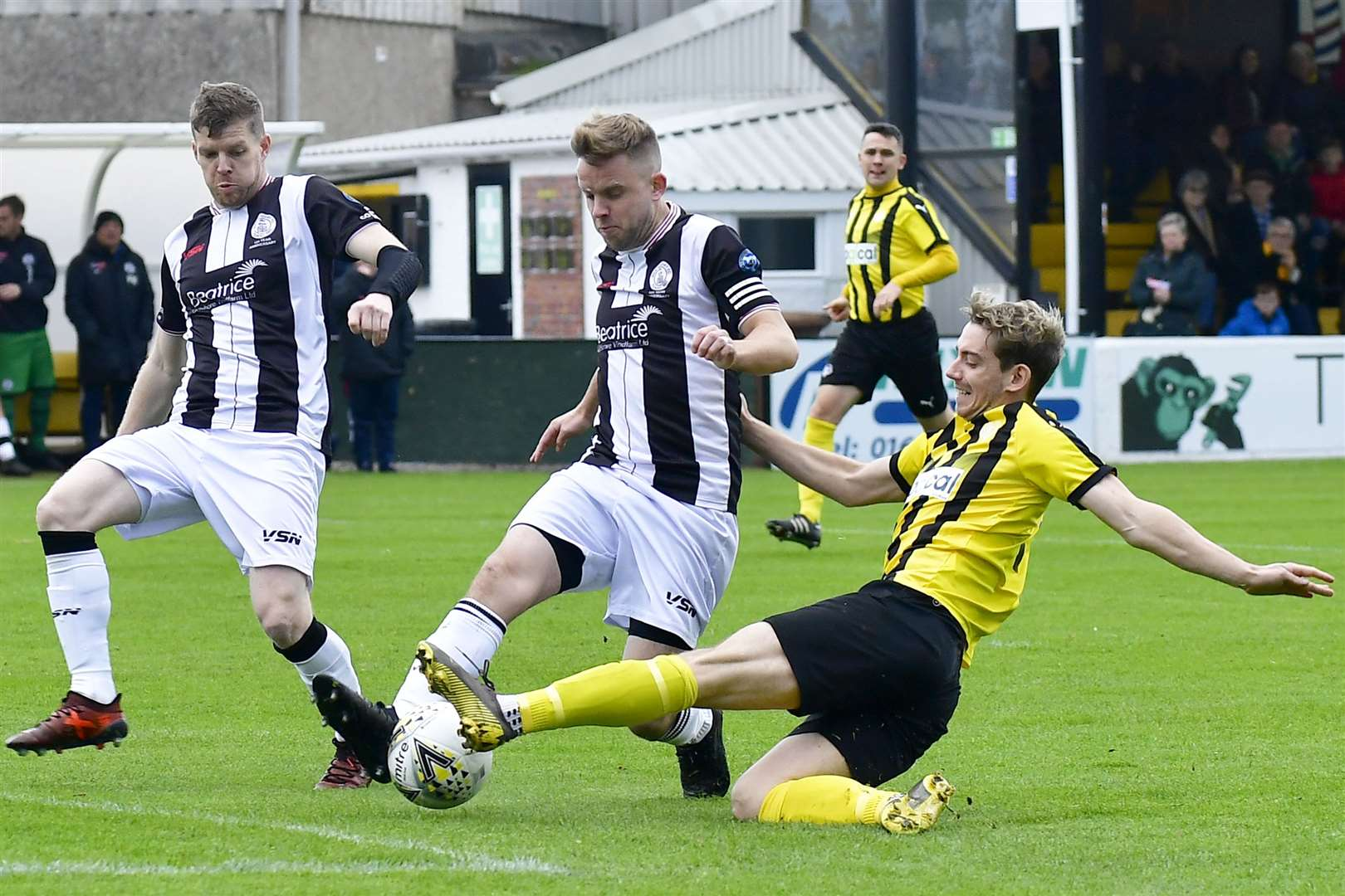 Alan Farquhar challenges Nairn County's Liam Shewan during a Highland League match at Station Park last October. Picture: Mel Roger