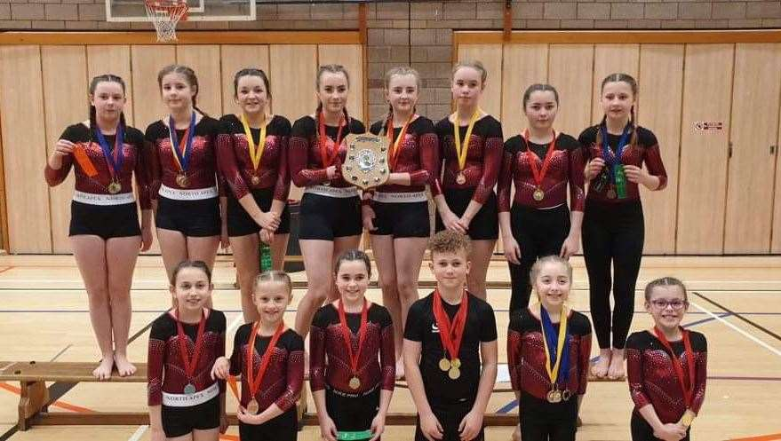 Wick schools' gymnasts. Front (from left): Sophie Burr, Amelijia Bradauskaite, Hannah Sinclair, Logan Leith, Erin Anderson, Alesha Mackenzie. Back: Hannah Gunn, Rachel Mackay, Miya Campbell, Leah Sinclair, Amber Mackenzie, Isla Mackay, Ellen Hamilton, Carla Malcolm.