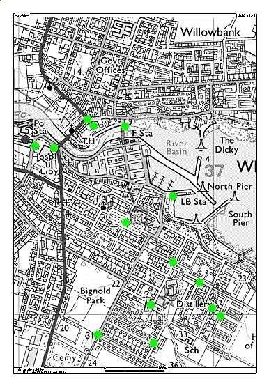 A map of Wick showing CCTV camera locations.
