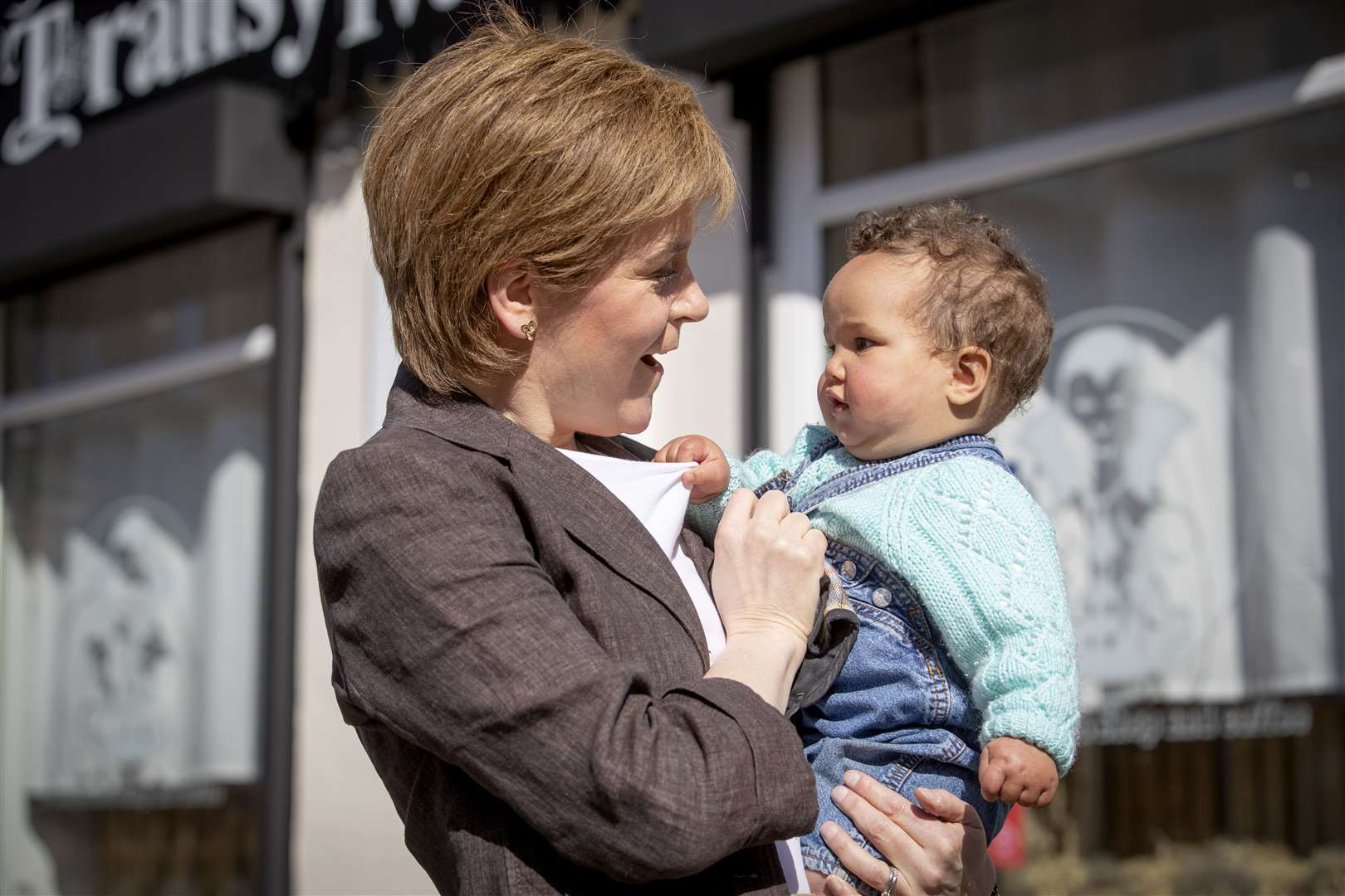 Ms Sturgeon met eight-month-old Habibba Hassan while campaigning in her Glasgow Southside constituency last month (Jane Barlow/PA)