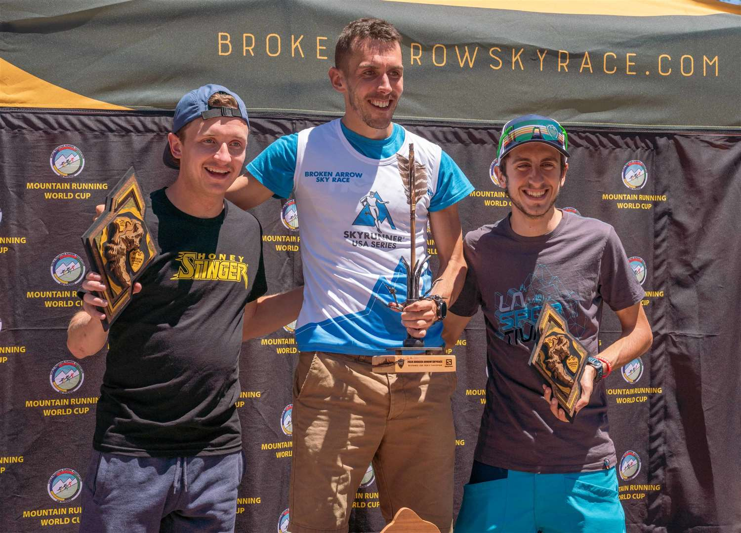 Andrew Douglas, flanked by Italian duo Martin (right) and Bernard Dematteis earlier this season in California at round two of the Mountain Running World Cup series. The trio could make up the same podium finish once the season ends as Halkirk's Douglas inched closer to the world title last week. Picture: Broken Arrow Skyrace/Myke Hermsmeyer.