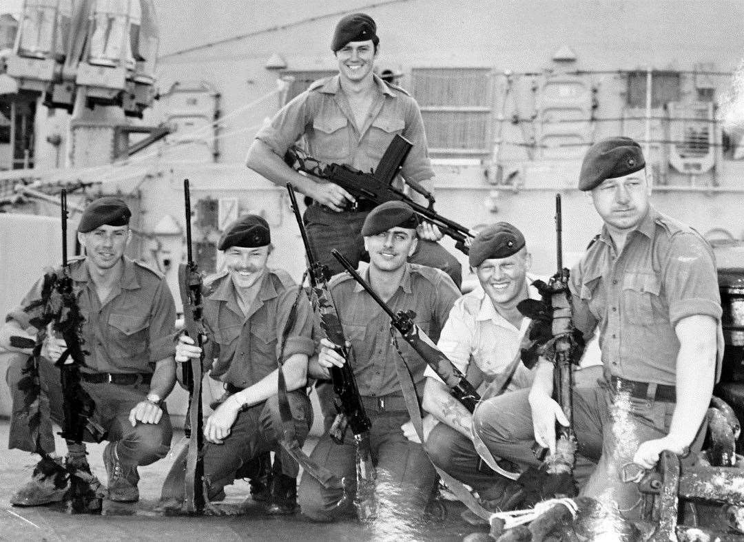 Ronnie (front middle) poses for a snap along with fellow marine commandos just before going into battle at San Carlos during the Falklands War.