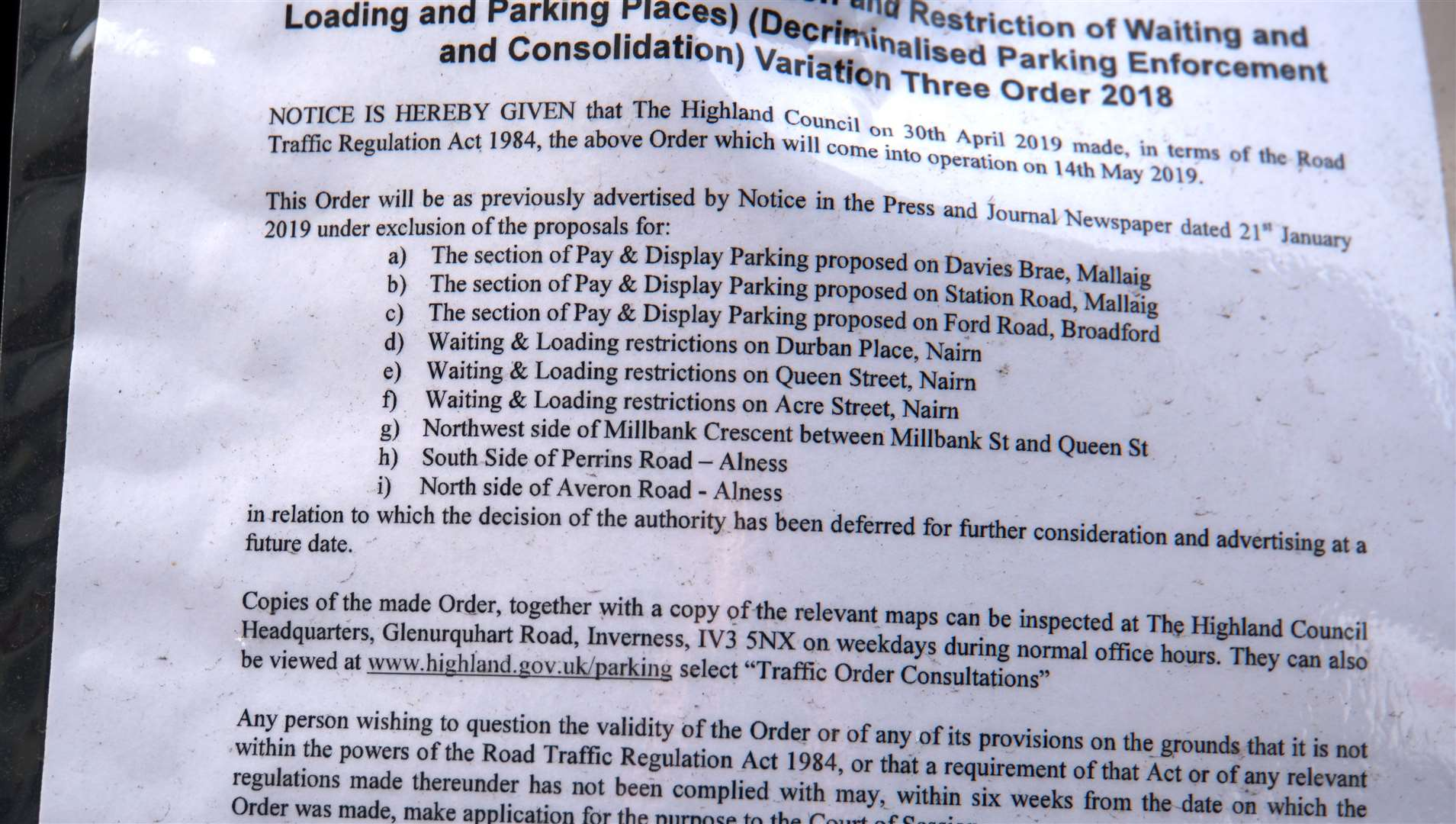 Confusing signs have been posted by Highland Council that make no mention of a Caithness street location.