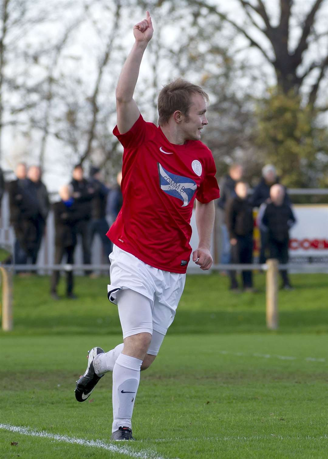 Richard Macadie celebrating one of his 195 competitive goals for Academy – in a 3-1 victory at Forres in November 2014. Picture: Mel Roger