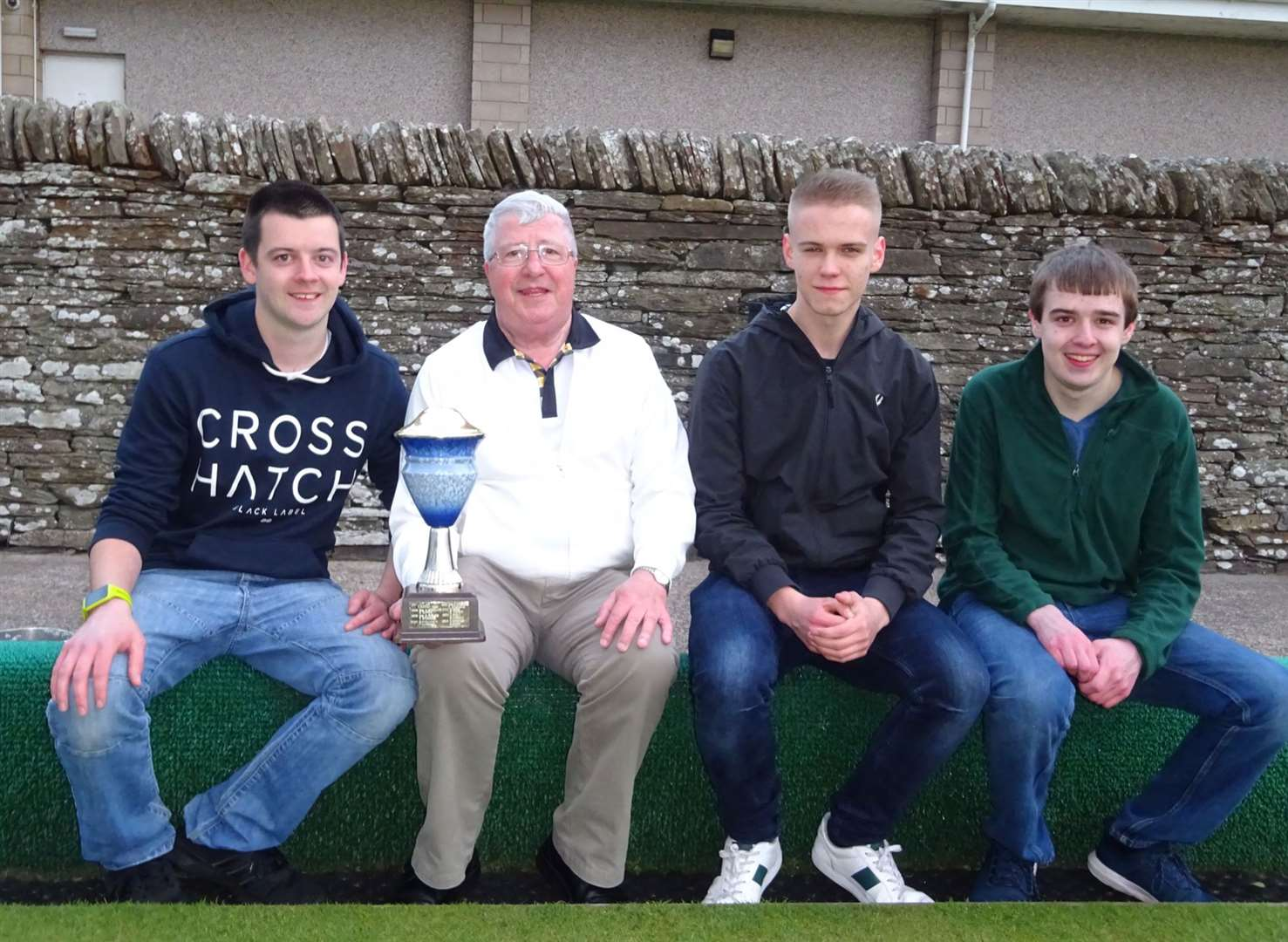Open pairs winners and runners-up – (from left) Alan Morrison, Mike Windsor, Liam MacKay and Euan Morrison.