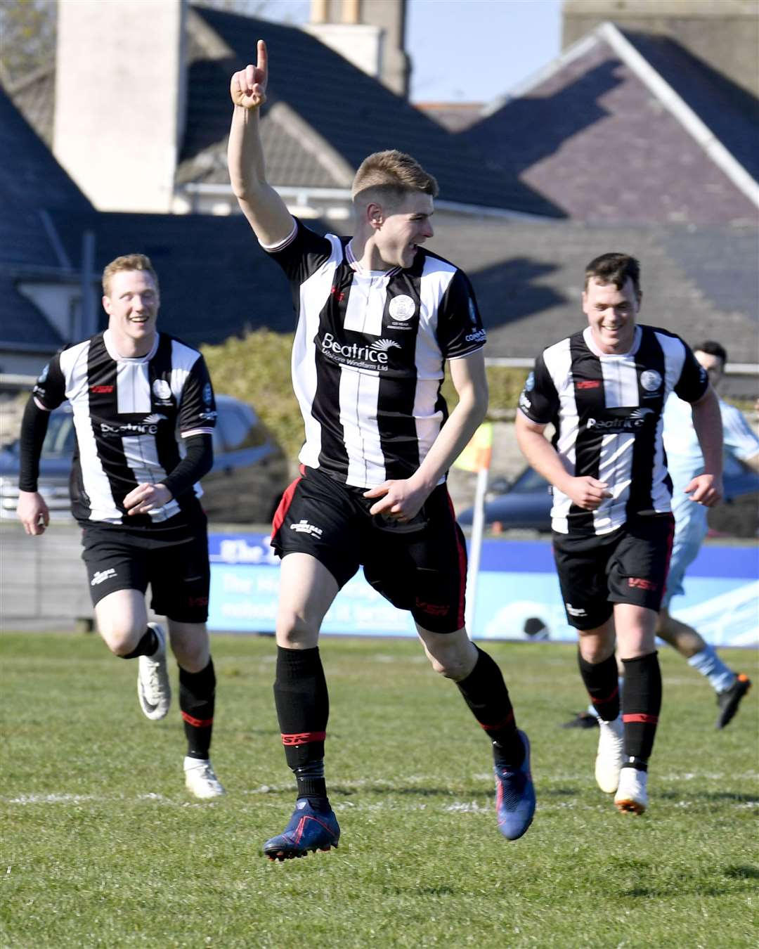 Marc Macgregor celebrates his equaliser for Wick with the last kick of the match. Picture: Mel Roger
