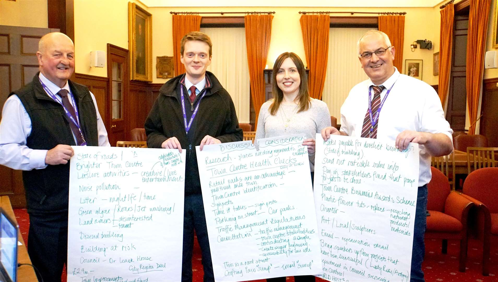 Wick and East Caithness councillors at the first town centre regeneration meeting in the town hall in April. Picture: DGS