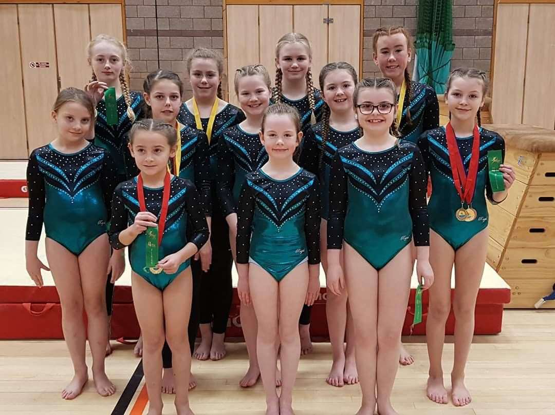 Thurso schools' gymnasts. Front (from left): Sophie MacDougall, Alba Norburn, Ava-Jay Campbell. Middle row: Zara Kirkwood, Morgan Foubister, Naomi Reid, Cadie Cannop, Evie McEwan. Back: Katie Donn, Kate Costello, Caitlyn Watt, Ami Alexander. Missing from the picture is Riley Gray.