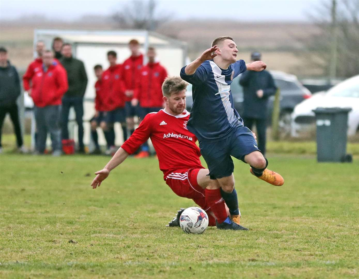 Michael Petrie was booked for this foul on Korbyn Cameron and was sent off as it was his second yellow. Picture: James Gunn