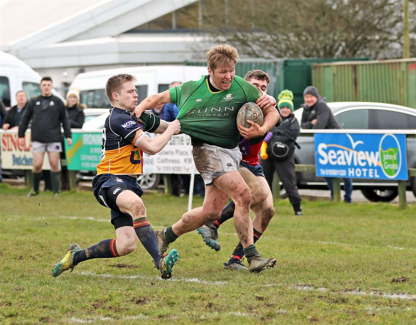 Evan Sutherland powers his way towards the try line for Caithness in a match against Hillhead Jordanhill. The Greens will remain in National League Division Three next term. Picture: James Gunn