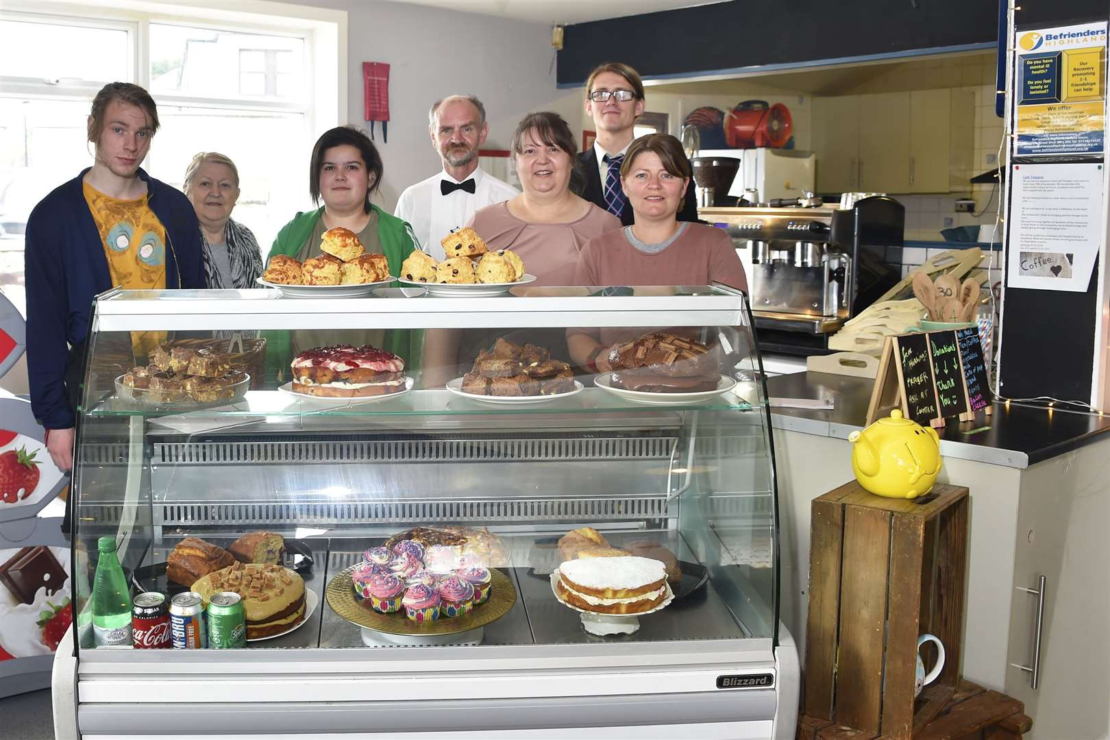 Thurso Community Café owners and some of the volunteers: Callum Watson, Christine MacInnes, Shannon MacPhee, Andy Gearie, Louise MacInnes, Joe Ashley and Ann Brock. Pictures: Mel Roger