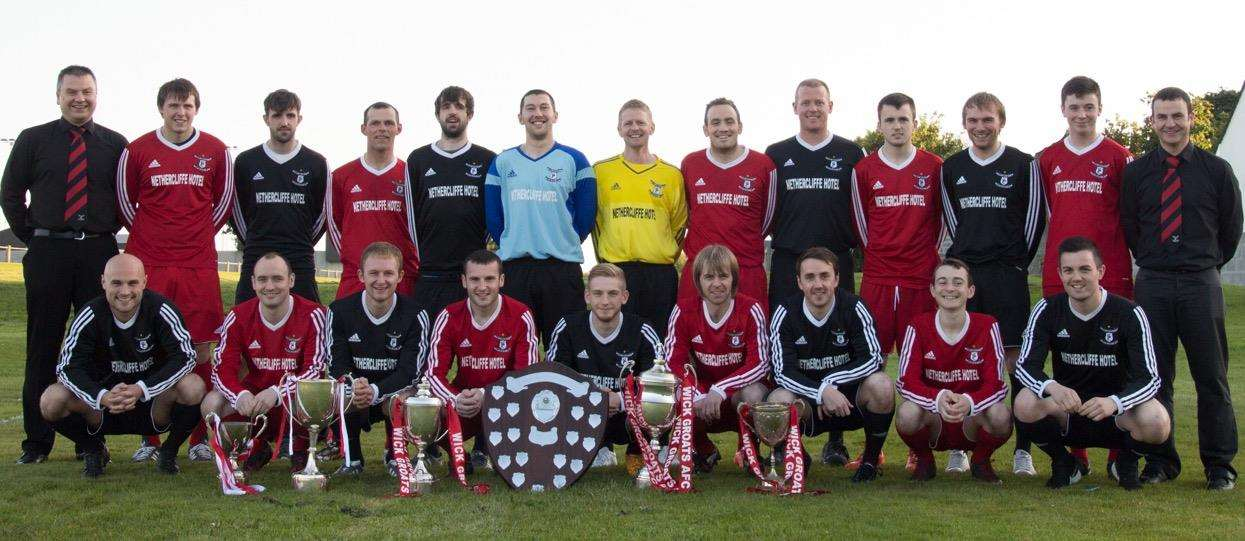 Wick Groats pictured with all five major trophies along with the pre season Wick League trophy which they won in 2015