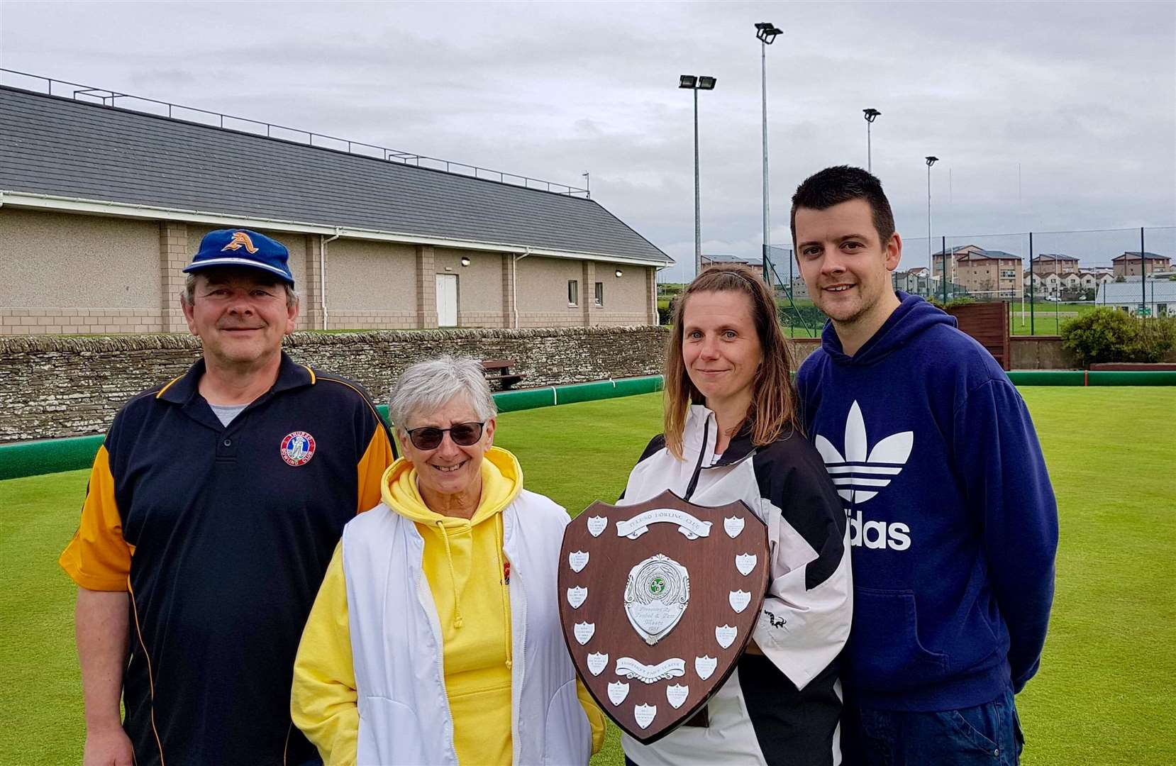 From left: Pairs league runners-up Allan Hourston and Liz Rhodes with winners Marina Bain and Alan Morrison.