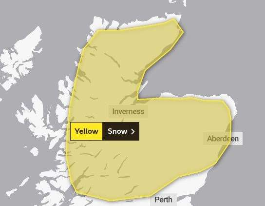 The snow warning will come into force at 6pm on Sunday. Picture: Met Office.