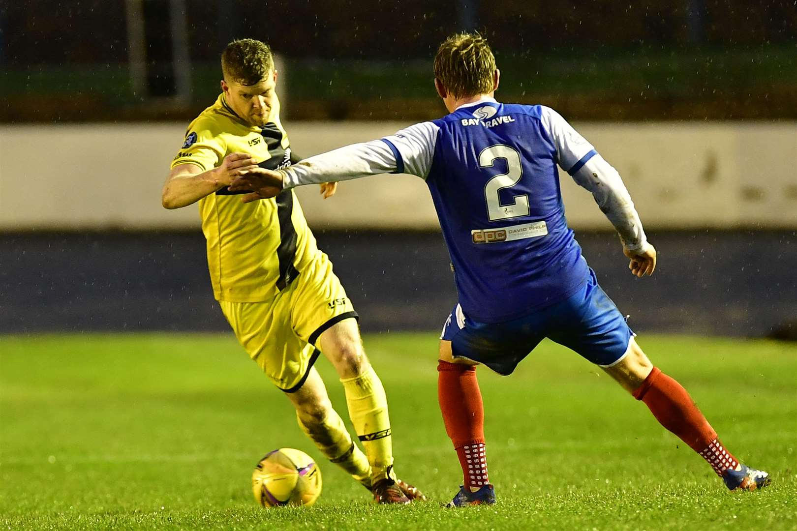 Wick Academy's last competitive outing was on Boxing Day in the Scottish Cup. Here, Ross Allan swerves past Fraser Mullen of Cowdenbeath. Picture: Mel Roger