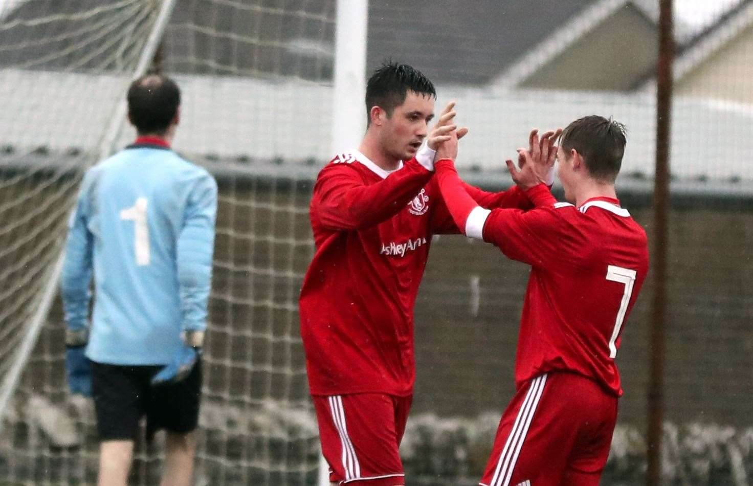 Goal hero Conor Macintosh (left) is congratulated by Cameron Montgomery during Thurso's 6-1 win against Bonar Bridge. Picture: James Gunn