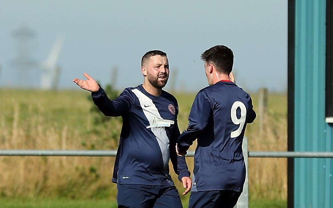Bobby Gunn, left, smashed in four goals to get new Halkirk boss Ewan McElroy off to a winning start with an 11-1 demolition of Bonar Bridge. Picture: James Gunn