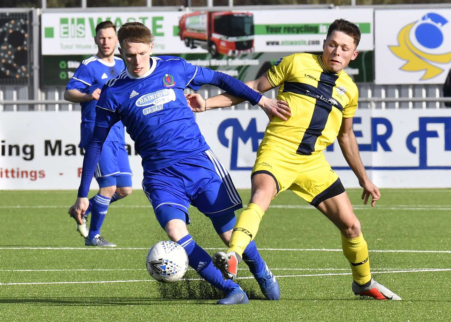 Academy's Jack Henry and Cove Rangers' Blair Yule battle for possession during the Scorries' last visit to Balmoral Stadium. Picture: Bob Roger