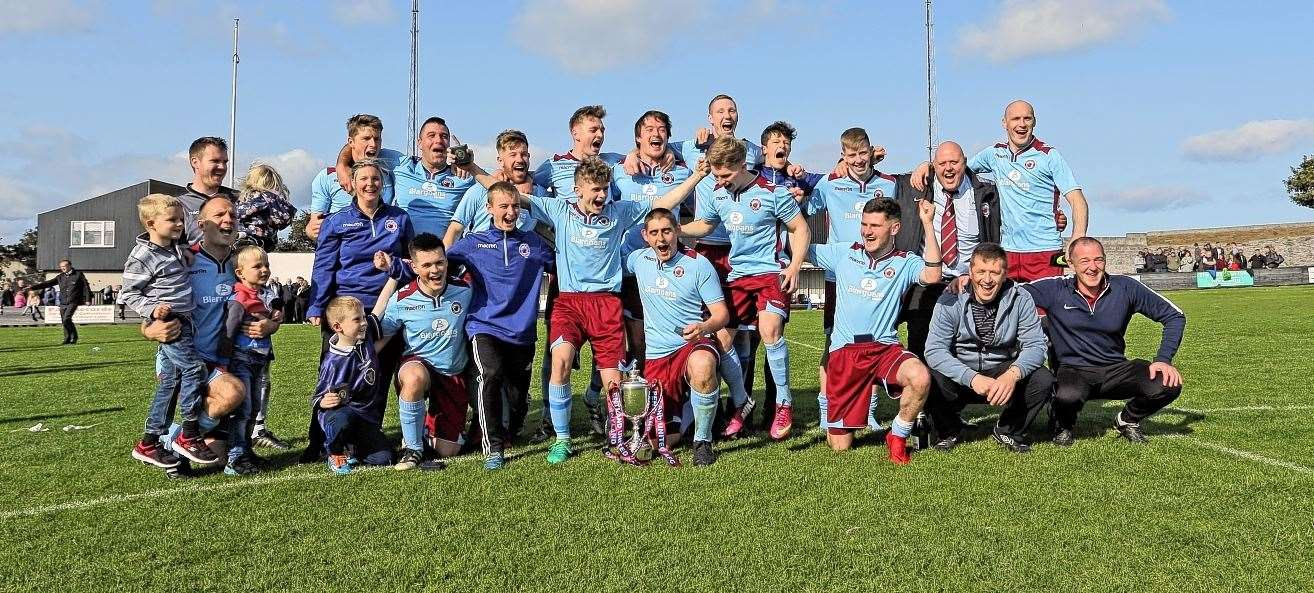 Pentland United celebrating after their hard-fought victory in last year's Highland Amateur Cup final against Lerwick Spurs. Picture: James Gunn