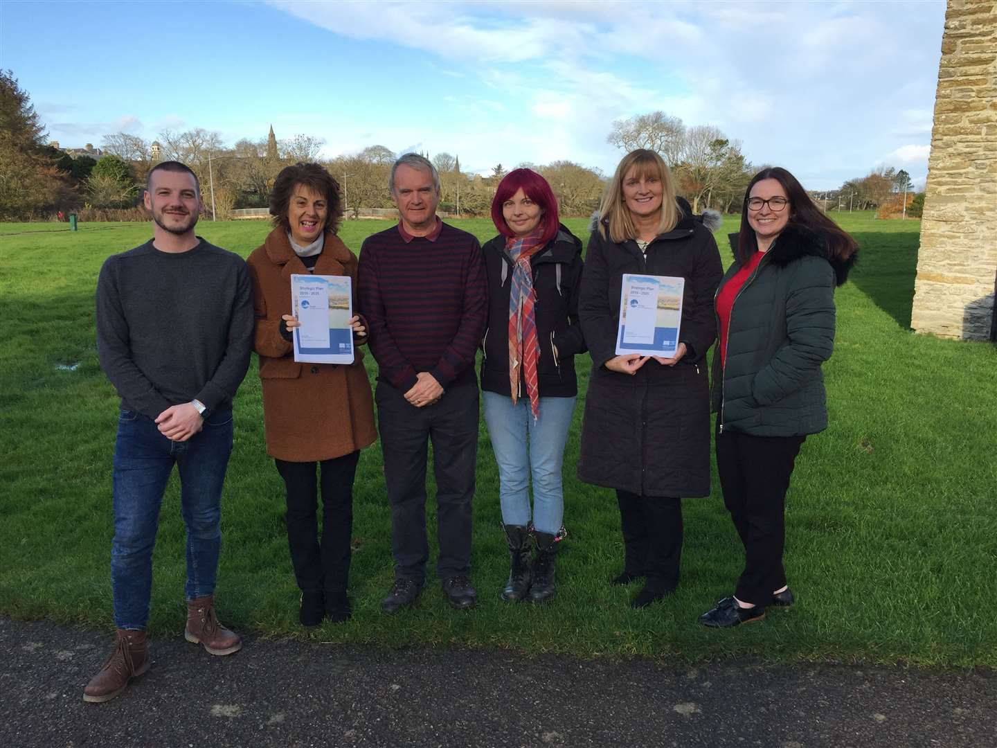 Thurso Community Development Trust board members (from left) with copies of the plan – Magnus Davidson, Gill Arrowsmith, Ron Gunn, Andrea Wotherspoon, Carol Paterson and Marion O'Brien.