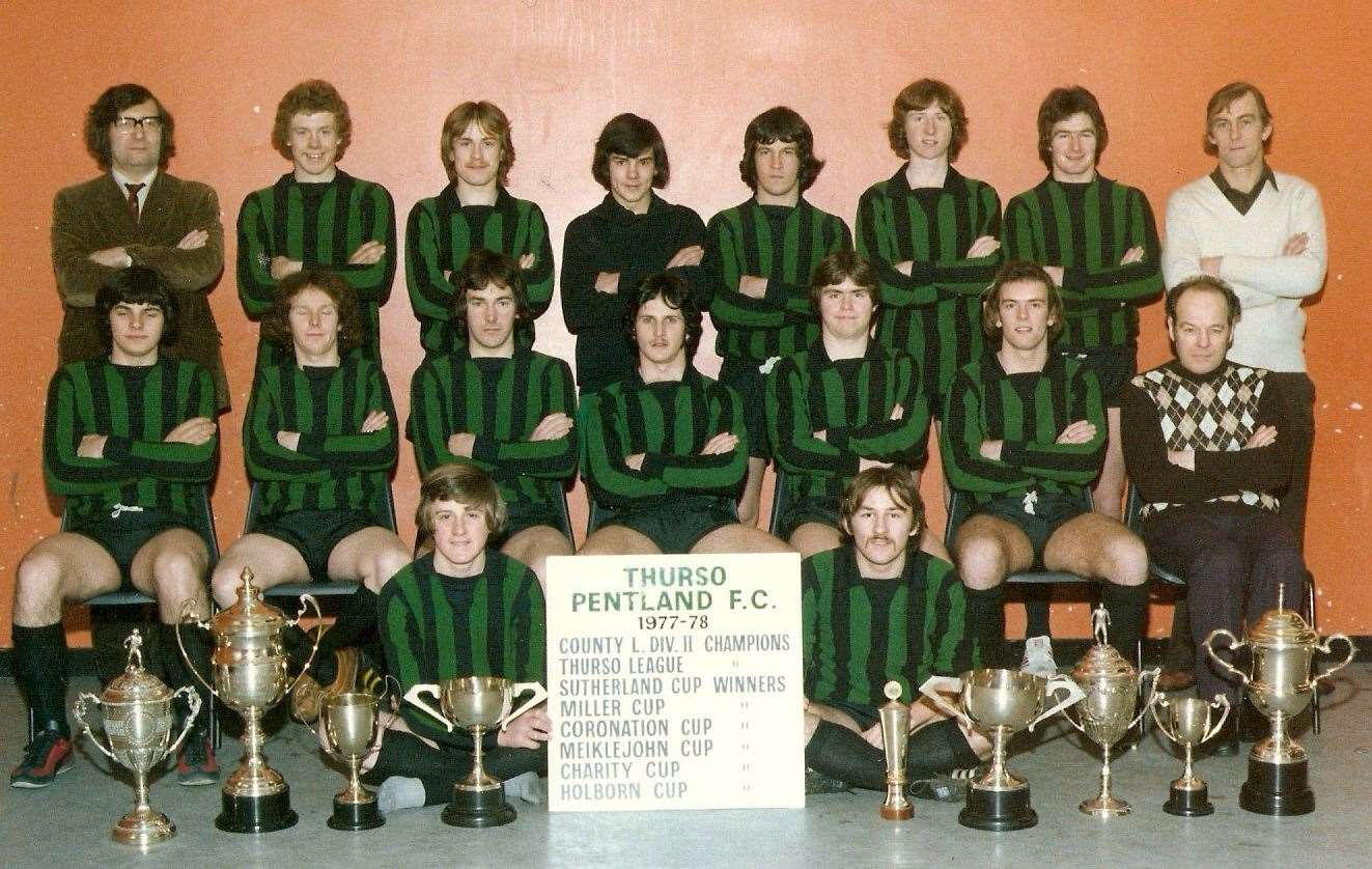 Thurso Pentland's successful squad of 1977/78 with their silverware.