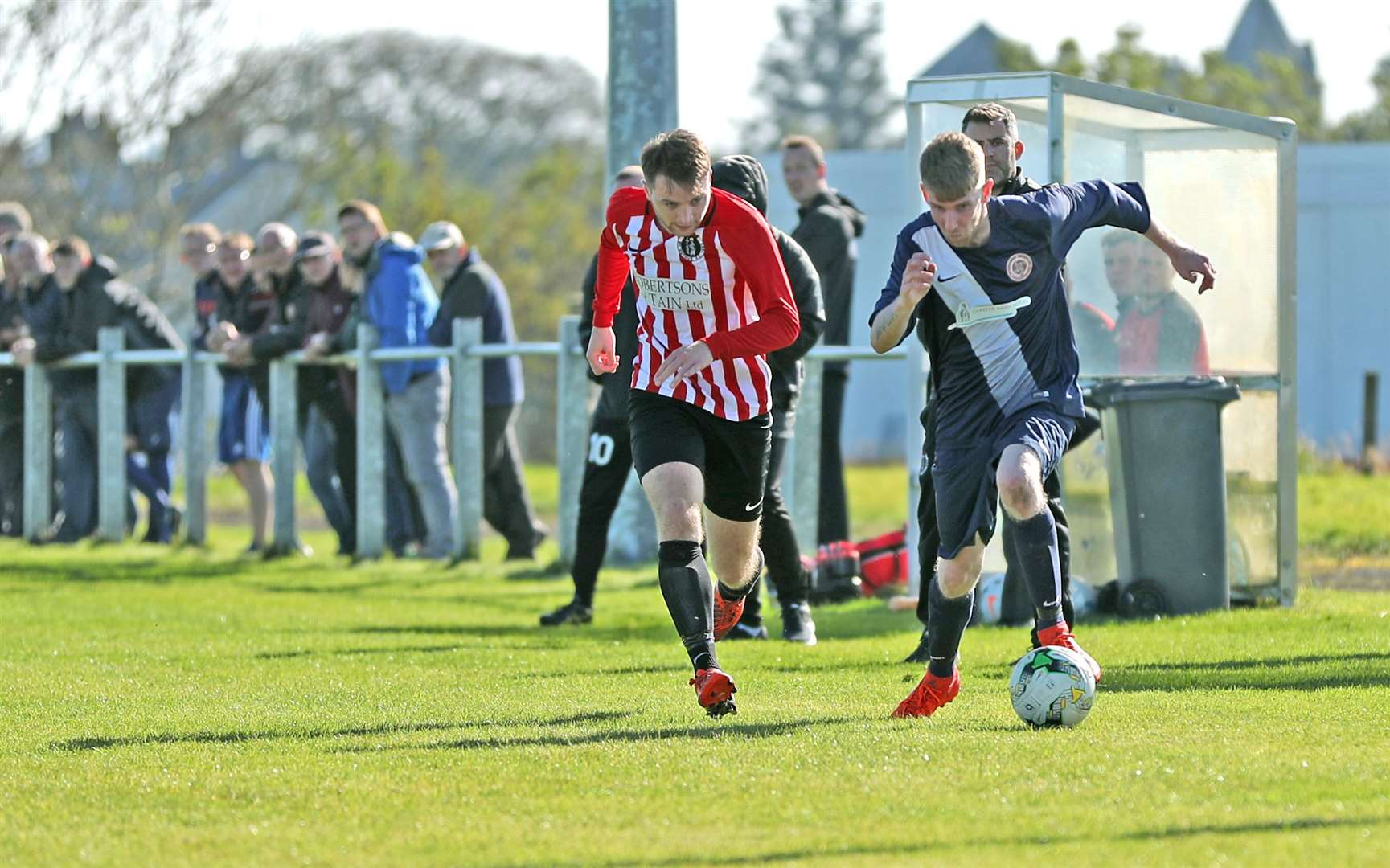 Ross Macleod beats Adam Allan during Halkirk's recent home game against St Duthus. Picture: James Gunn